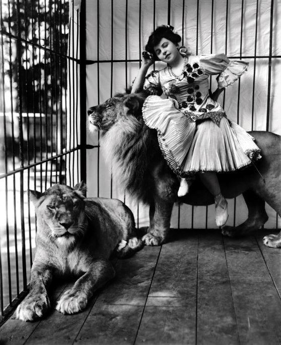 frederick-w-glasier-mademoiselle-scheel-with-lions-1905