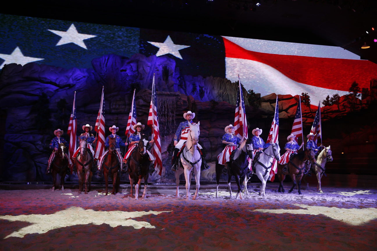 Dixie Stampede, Pigeon Forge, Tennessee Cowboys with American Flags