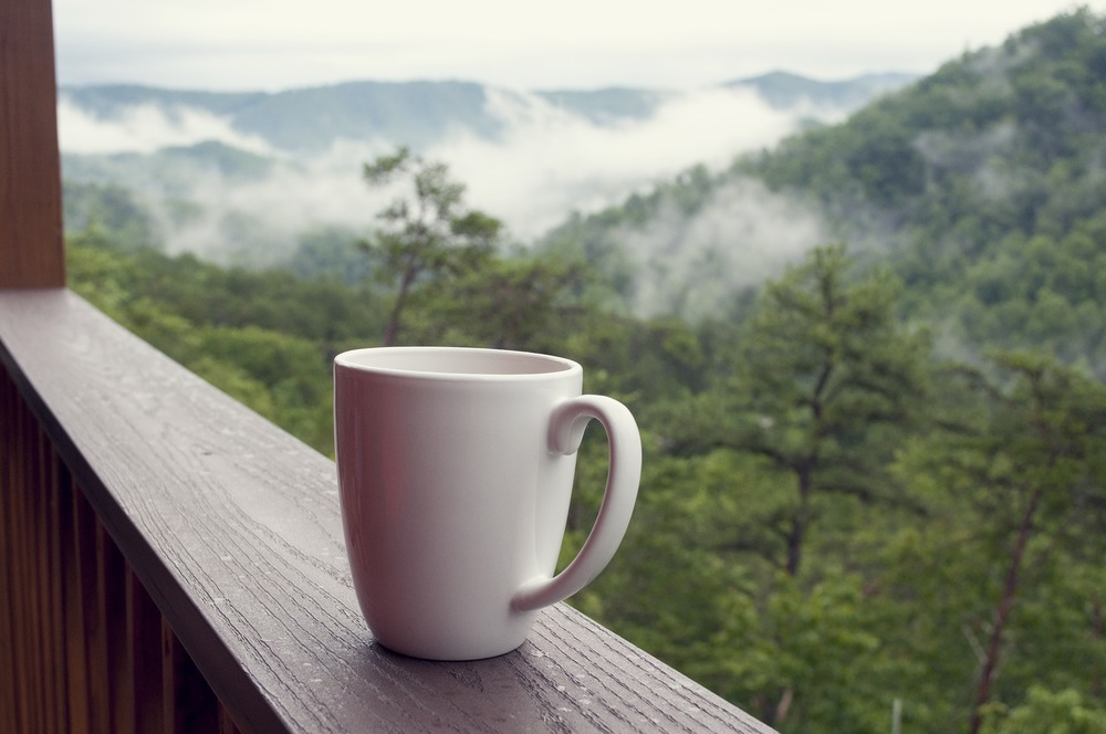 pigeon forge, smoky mountains, morning coffee