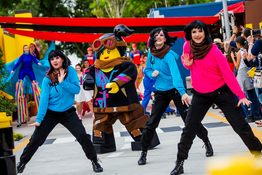 lego land celebration, Lego character dancing, family friendly theme parks